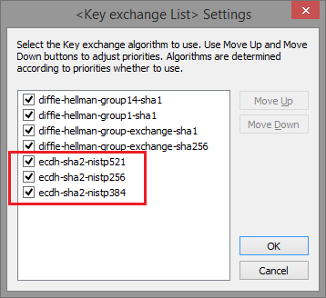 Support for Elliptic curve Diffie-Hellman Key Exchange (ECDH