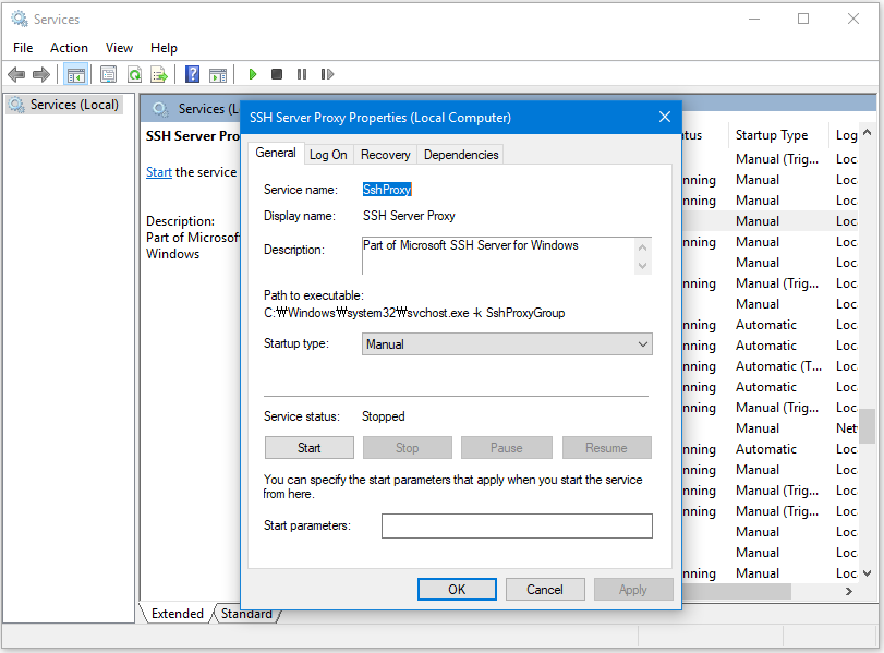 Installing Windows 10's SSH Proxy and Connecting to the CMD Console